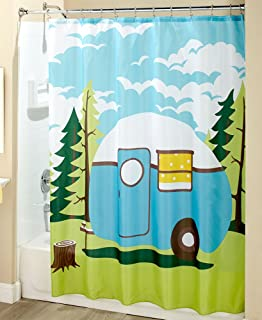 Amazoncom Happy Camper Camping Outdoor Shower Curtain Liner Mildew