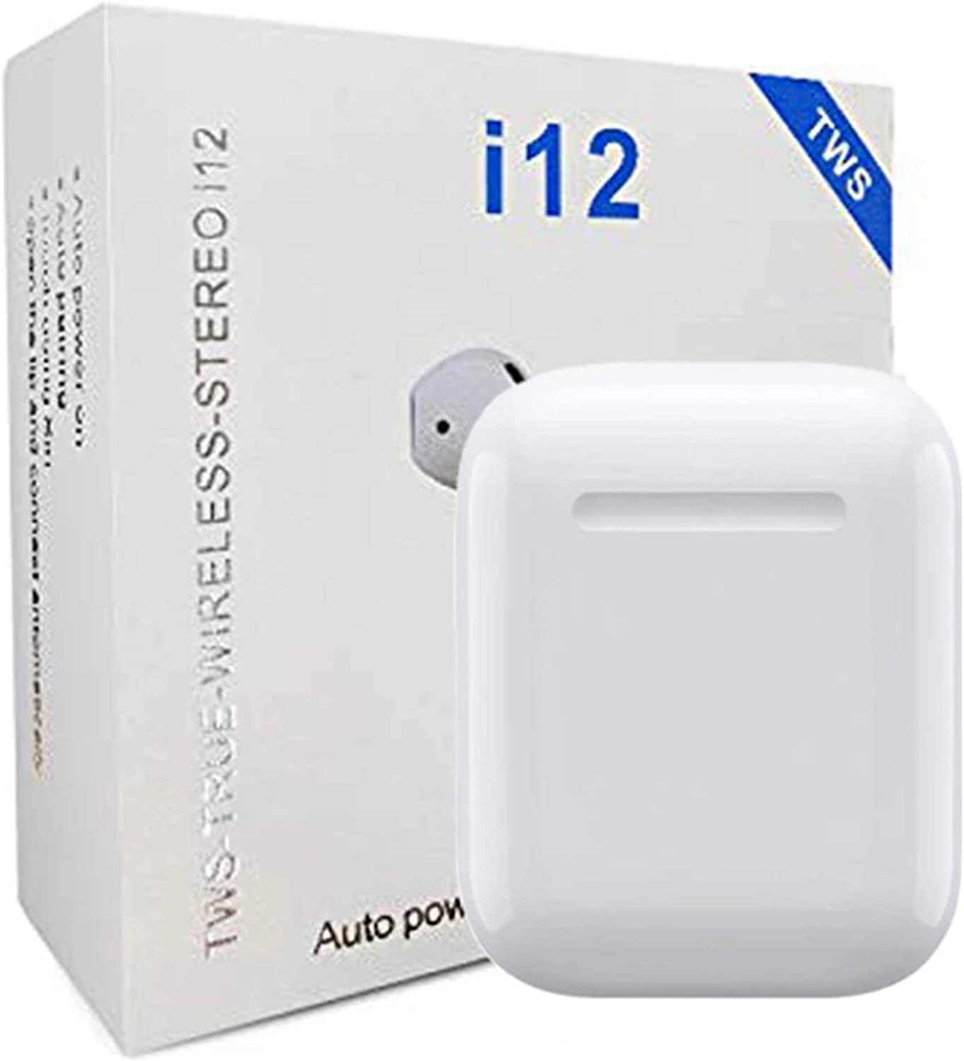 P4M i12 TWS Bluetooth 5.0 Wireless Earbuds | Wireless Bluetooth Headphones with Deep Bass HiFi Stereo Sound | Built-in Mic Earphones with Portable Charging Case for iOS and Android