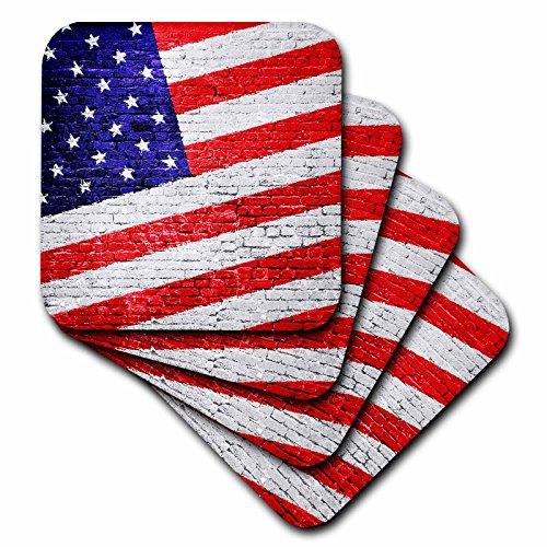 American Flag Tile (3dRose American Flag Urban Art Patriotic American Flag on Brick Wall Ceramic Tile Coasters (Set of 4))