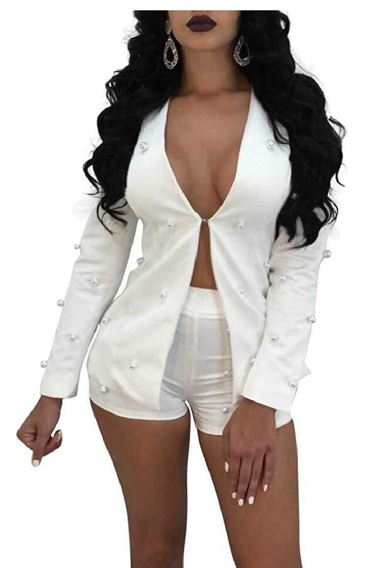 XQS Womens 2 Piece Outfits Blazer Suit Set Pearls Beaded Jacket Shorts Clubwear