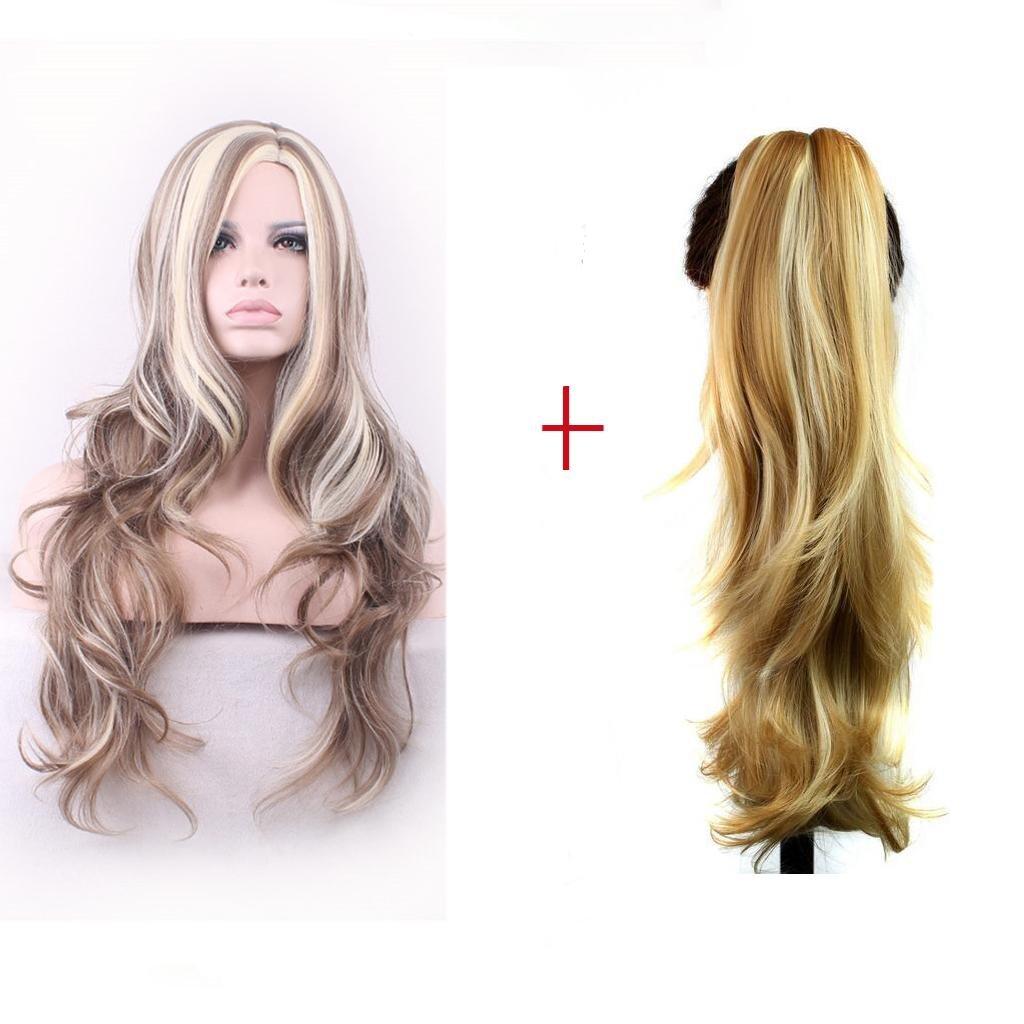 Cartone animato Cos moda temperamento grande onda nei capelli colore misto parrucca , XL