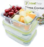 Airtight Glass Food Storage Containers: Divided Food Packaging with Lid - Stackable, BPA Free, Microwavable, Portion Control Container for Hot or Frozen Food with Snap Lock Design - 3 Pack, Medium