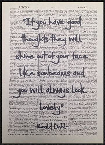 Roald Dahl Quote Print Vintage Dictionary Page Wall Art Picture The BFG Quirky