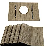 PAUWER Placemats Set of 8 Heat Insulation Stain Resistant Placemat for Dining Table Durable Woven Vinyl Kitchen Table Placemats (Khaki)
