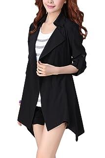 da9be73f8208a Vemubapis Women Long Sleeve Turndown Collar Ireegular Monocolor Jacket Coat