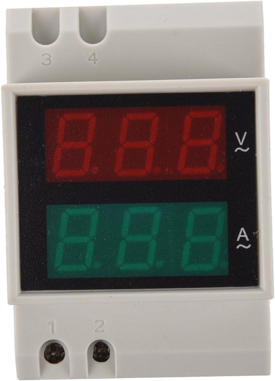 voltmetre // amperemetre SODIAL R Din-Rail CA 110V // 220V numerique voltmetre amperemetre Rouge Volt Vert amperemetre avec ecran LED