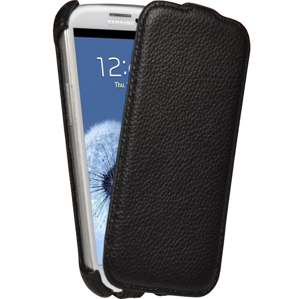 iGadgitz Black Leather Flip Case Cover Holder for Samsung Galaxy S3 III i9300 Android Smartphone Cell Phone (Compatible with all carriers incl AT&T, Sprint Nextel, T-mobile & Verizon Wireless)