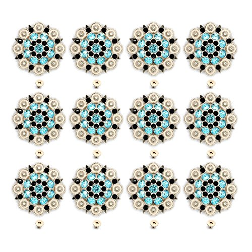 - DIY Conchos Button Crystal Leathercraft Conchos with Screw (Clor 3, 12 PCS)
