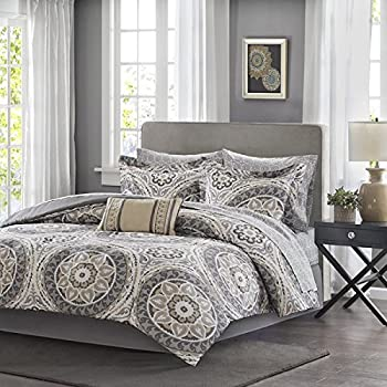 9 Piece Light Grey Medallion Comforter King Set Beautiful All Over Bohemian Boho Chic Bedding
