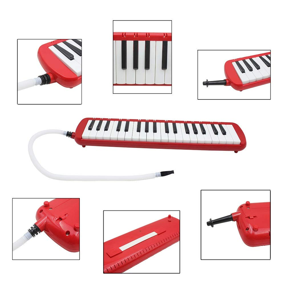 Melodica Musical Instrument Full Sets Piano Style Melodica Educational 37 Keys Portable Musical Instrument With Carrying Bag Straps 2 Mouthpieces Tube Gift Toys For Kids Music Lovers Beginners Red for by Shirleyle-MU (Image #3)