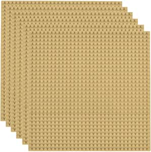 """Lekebaby Classic Baseplates Building Base for Building Bricks 100% Compatible with Major Brands-Baseplate 10"""" x 10"""", Pack of 6 (Sand Color)"""