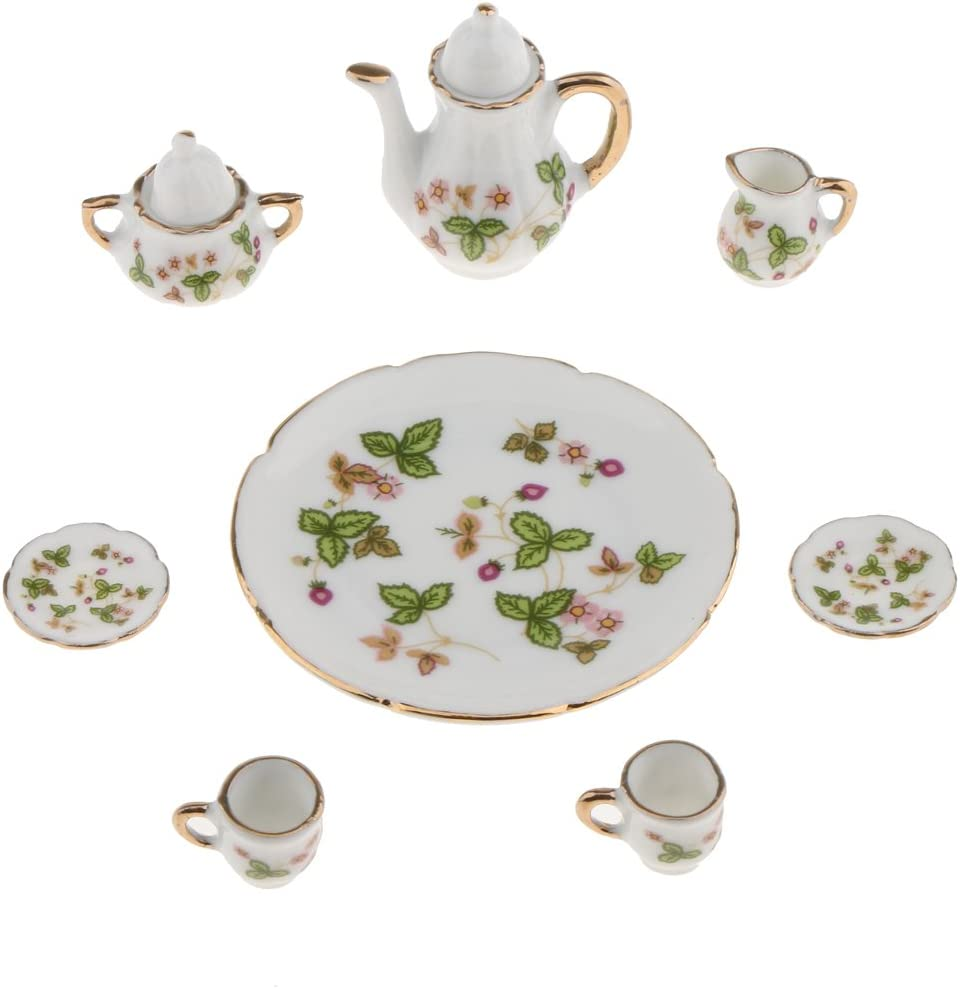 MagiDeal 8pcs Dollhouse Miniatures Clover Ceramic Tea Set Pot Cup Saucer Plate