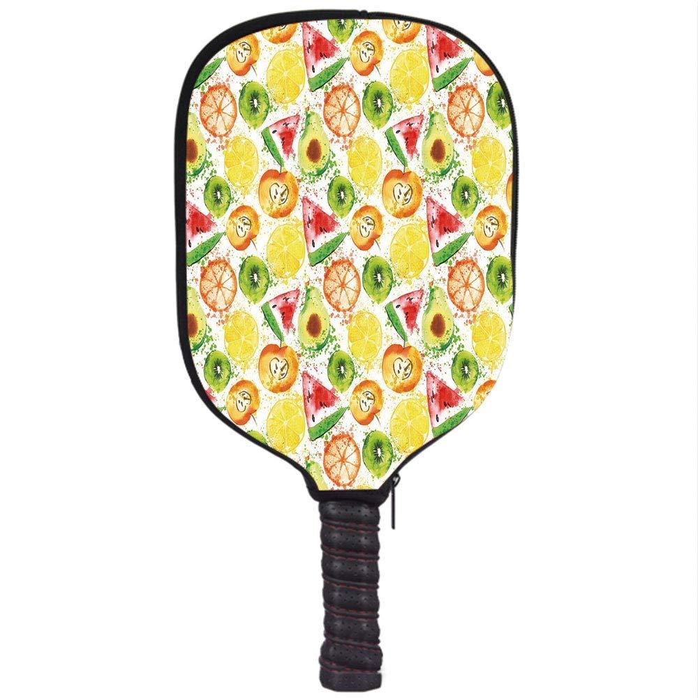 PENGTU Neoprene Premium Pickleball Paddle Racket Cover Case,Fruits,Paintbrush Mixed Plants Seed Splash Watermelon Peach Avocado Design,Yellow Orange Fern ...