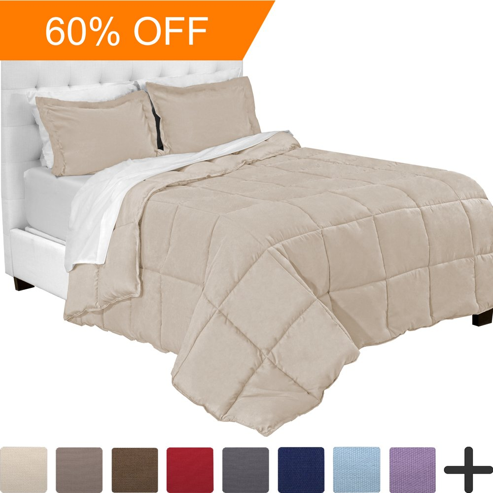 7-Piece Bed-In-A-Bag - Split Head Flex King (Comforter Set: Sand, Sheet Set: White) by Bare Home