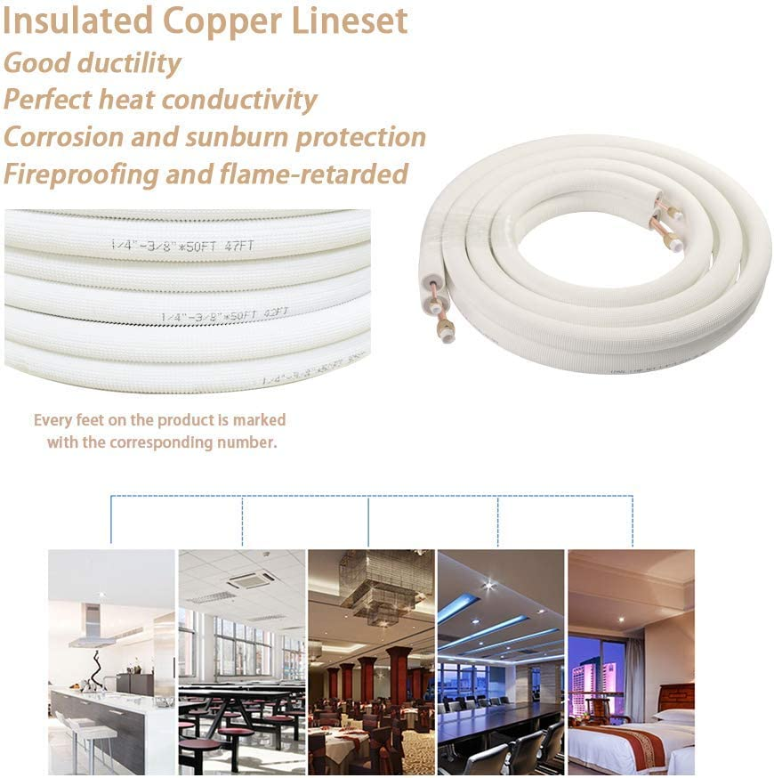 Wostore 16 Ft Copper Pipes 1//4/&3//8 Inch 3//8 PE for Mini Split Air Conditioner Insulated Coil Line Set HVAC with Fittings
