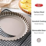"""Bakerdream Round Non-stick Tart Pan Quiche Pan with Removable Bottom Flan Tin Mini Tart Pan Pie Pan with Loose Bottom, 7.87"""" inch"""