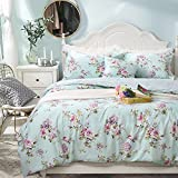 FADFAY Beautiful Duvet Cover Set 100% Cotton Purple Hydrangea and Red Roses,Queen Size 3-Piece