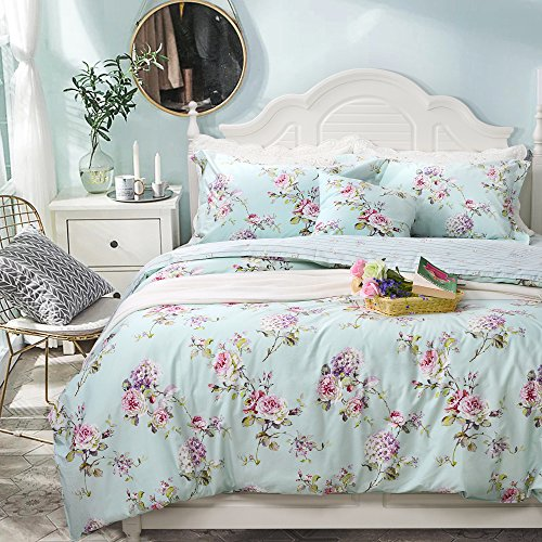 FADFAY Fashionable Blue Hydrangea Floral 100% Cotton Hypoallergenic Duvet Cover Set With 2 Pillowcases,Cal King Size 3-Pieces Blue Floral Duvet