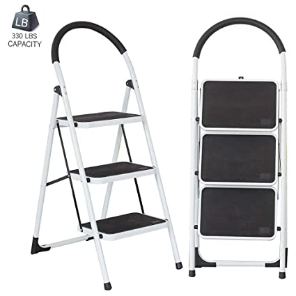 Groovy Dporticus Anti Slip 3 Step Ladder Folding Lightweight Steel Step Stool Platform 330 Lbs Capacity Evergreenethics Interior Chair Design Evergreenethicsorg
