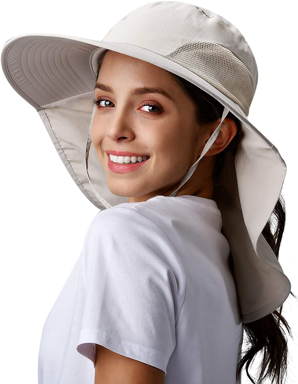 Womens Hiking Fishing Hat Waterproof Nylon Wide Brim Hat with Large Neck Flap UPF 50+ Sun Protection Hats for Women