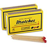 2 Boxes of Clipper Extra Long Safety Matches (45/box), Ideal for BBQ's, Open Fires, Candles - Comes With TCH Anti-Bacterial Pen!