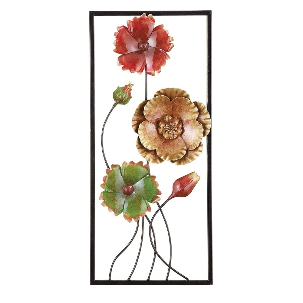 Collections Etc 3D Floral Wrought Cutout Metal Wall Art, Right