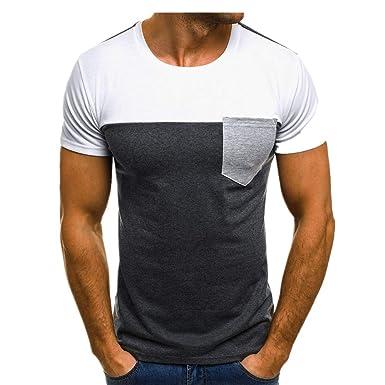 Cebbay Camisetas Hombre Delgado Cuello Redondo Color a Juego Moda ...