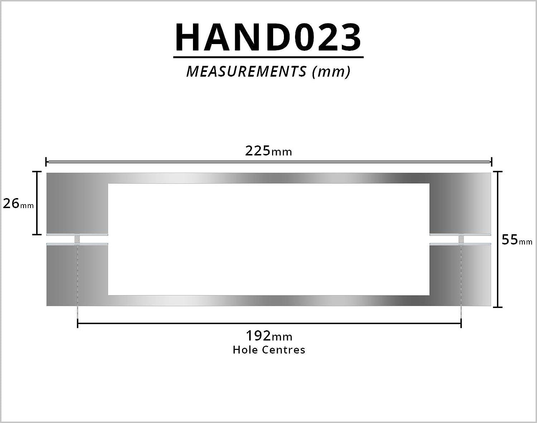 Paire de poign/ées de porte de douche chrom/ées HAND023 Longueur 225 mm Convient pour les fermetures de douche Centres de trou de 192 mm