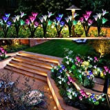 Outdoor Solar Garden Stake Lights - Doingart 2 Pack Solar Powered Lights with 8 Lily Flower, Multi-color Changing LED Solar Decorative Lights for Garden, Patio, Backyard (Purple and White)
