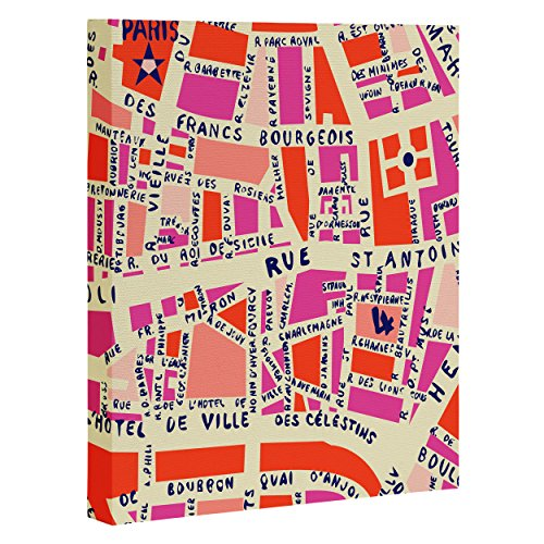 Deny Designs Holli Zollinger, Paris Map Pink , Art Canvas , Large, 24