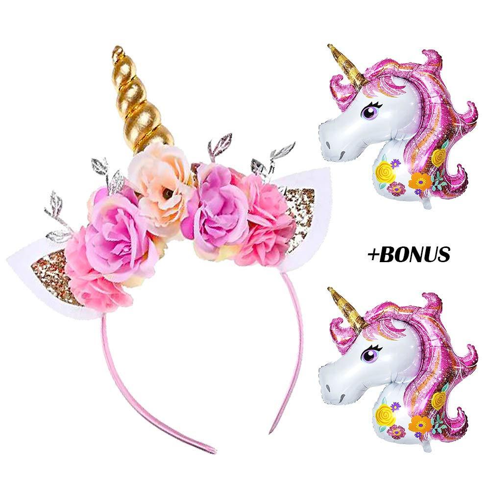 Amazon Com Daisyformals Unicorn Headband Gold Unicorn Horn Flowers Headband For Girls Adults Birthday Outfit Halloween Costume Best Unicorn Party Favors And Decorations Photo Props Set 2 Free Unicorn Balloons Beauty