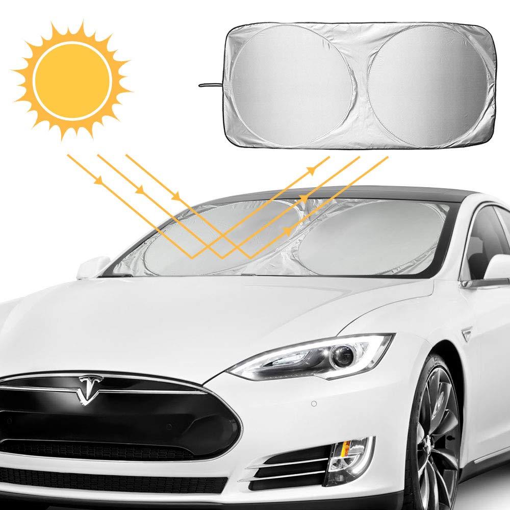 parasoles de Coche Auto Frontal Parabrisas Protector Resistente a los Rayos UV y a Luz de Sol Apto a la Mayor/ía de Coches y Suvs,150 x 70cm AODOOR Parasol para Parabrisa