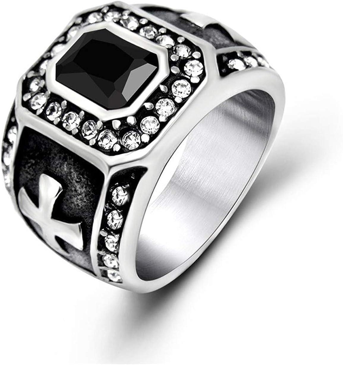 Vendimia Piedras Preciosas De Diamantes De Moda De Los Hombres Acero Titanio Anillo