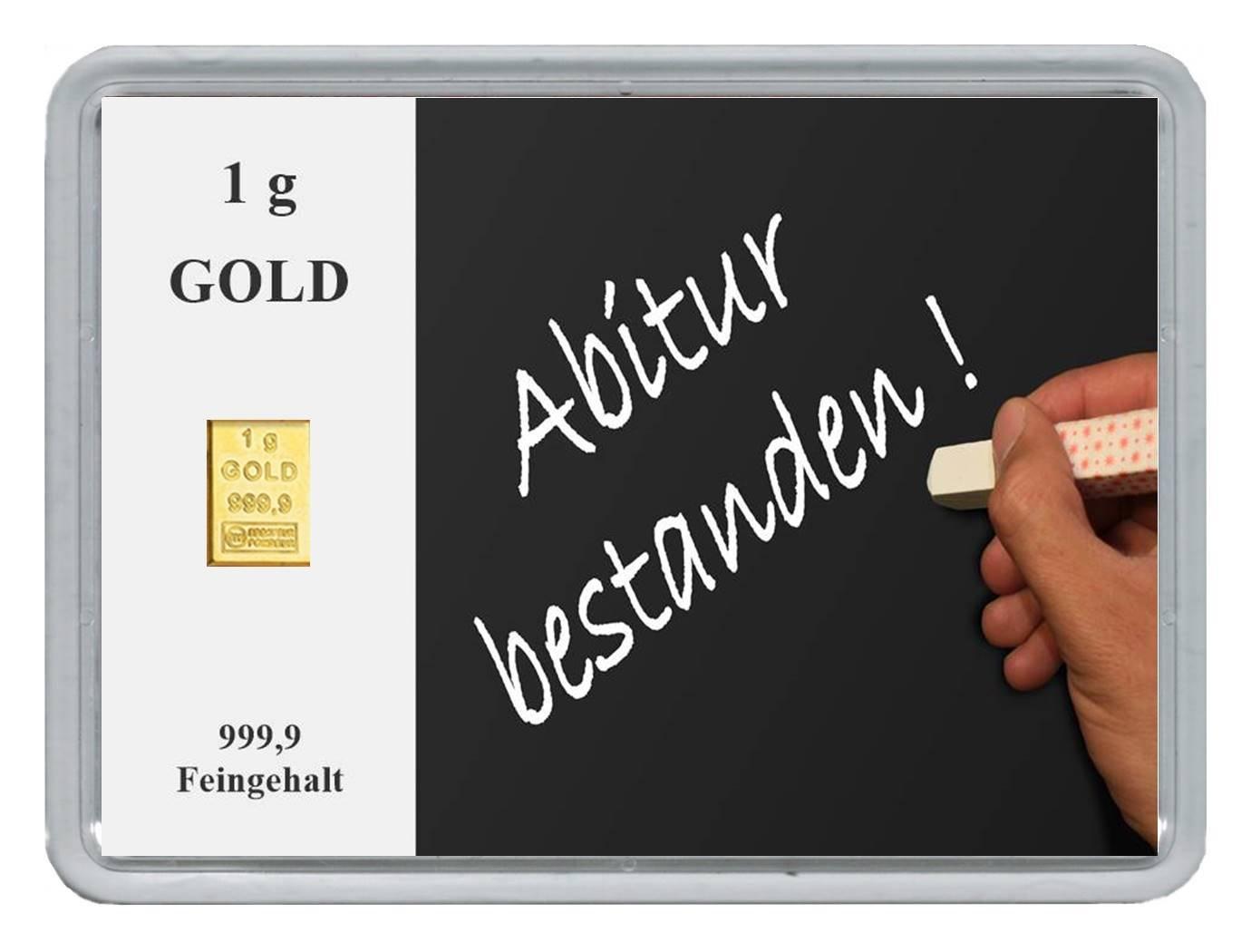New Edition 1g Goldbarren 999,9 FeinGold in Motivbox Abitur .  in edler Goldverpackung B078JJ5DYW | Angenehmes Gefühl