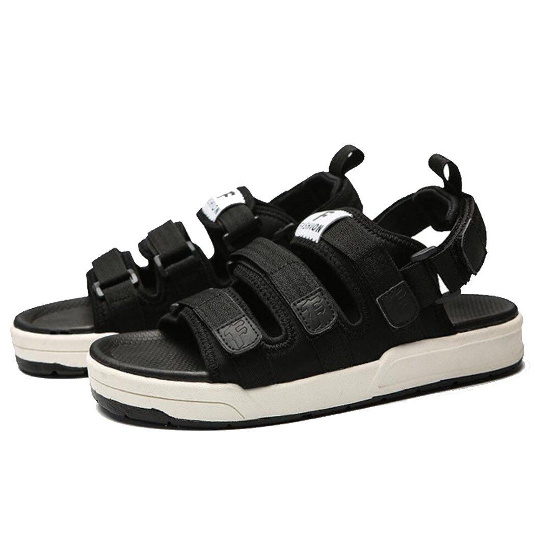 GAOLIXIA Männer Mesh leichte atmungsaktive Sandaleen Sommer Joker Velcro Hausschuhe Outdoor Strand Schuhe Sport Freizeitschuhe schwarz grau