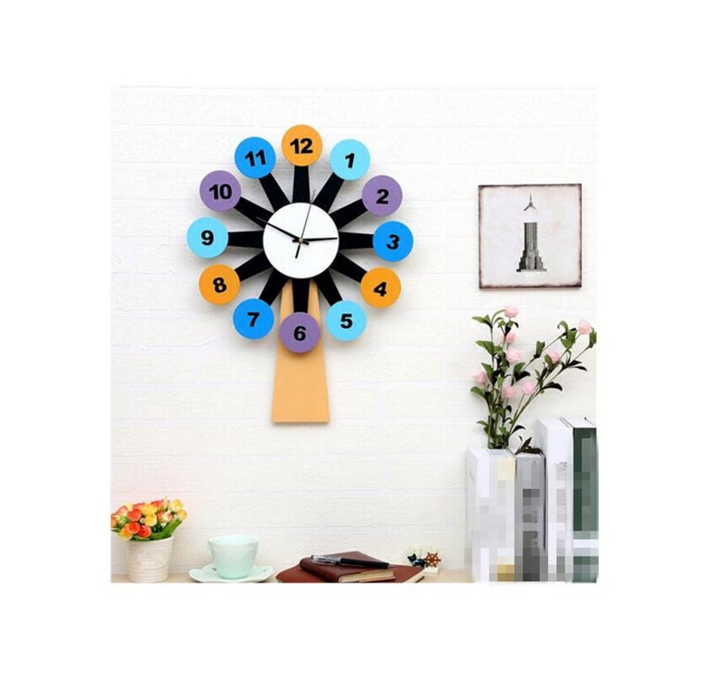 Sucastle Windmill, wall clock, clock, mute, wall clock, wood, simple, creative, hanging table, WYFC
