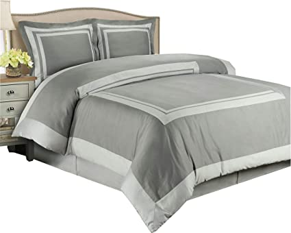 Amazoncom Hotel Gray And Light Gray 2 Piece Twin Twin Xl Duvet