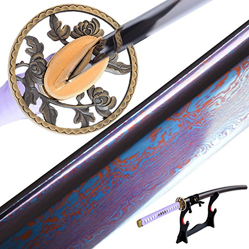 - YJ COOL Blue & Red Blade Folded Steel Sword Samurai Katana Sharp Full Tang Real