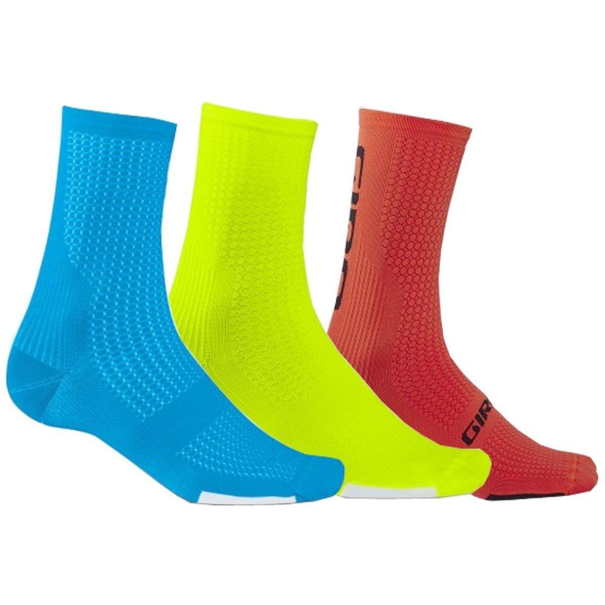Giro HRC Team Bike Socks 3-Pk (Blue/Highlight Yellow/Vermillion, Large)
