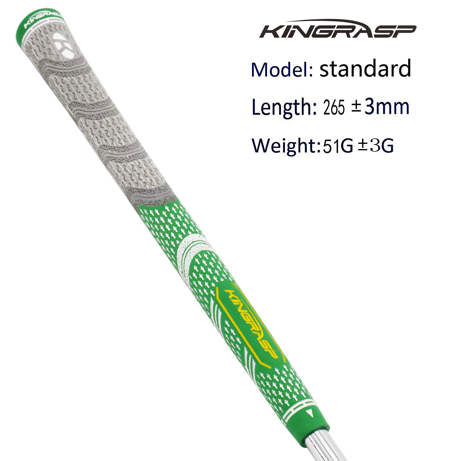 KINGRASP Multi Compound Golf Grips Set of 13 Golf Grip Standard midsize Size - All Weather Rubber Golf Club Grips Ideal for Clubs Wedges Drivers Irons Hybrids (Gray/Green, Standard) by KINGRASP (Image #2)