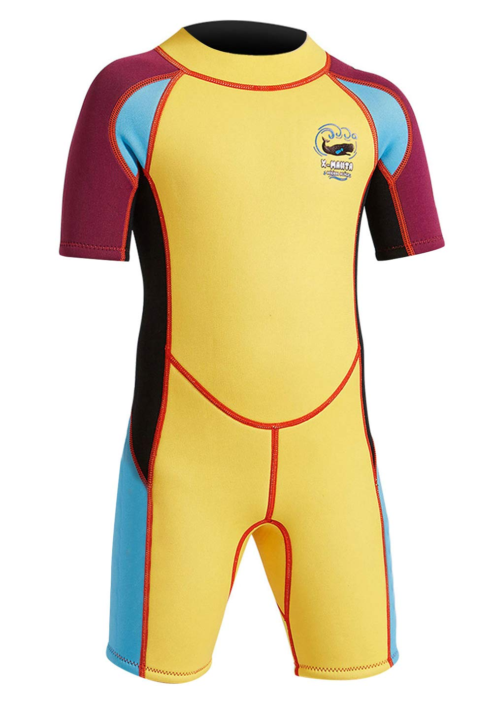 DIVE & SAIL Kids Warm Wetsuit 2.5MM One Piece Short Sleeve Shorty Suit Sun UV Protection Swimming Diving Suit Swimwear for Boys Yellow L by DIVE & SAIL