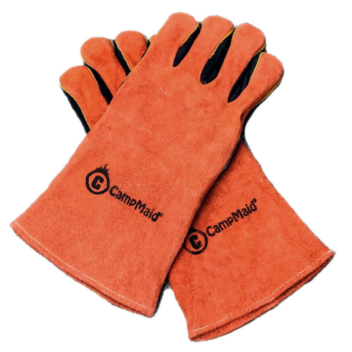 CampMaid Leather Gloves – Compact and Portable Cooking Gloves – Premium Quality – Heat Resistant Gloves with Soft Cotton Lining – Camping, Hunting, Picnic Cookout – Reliable Survival Tool