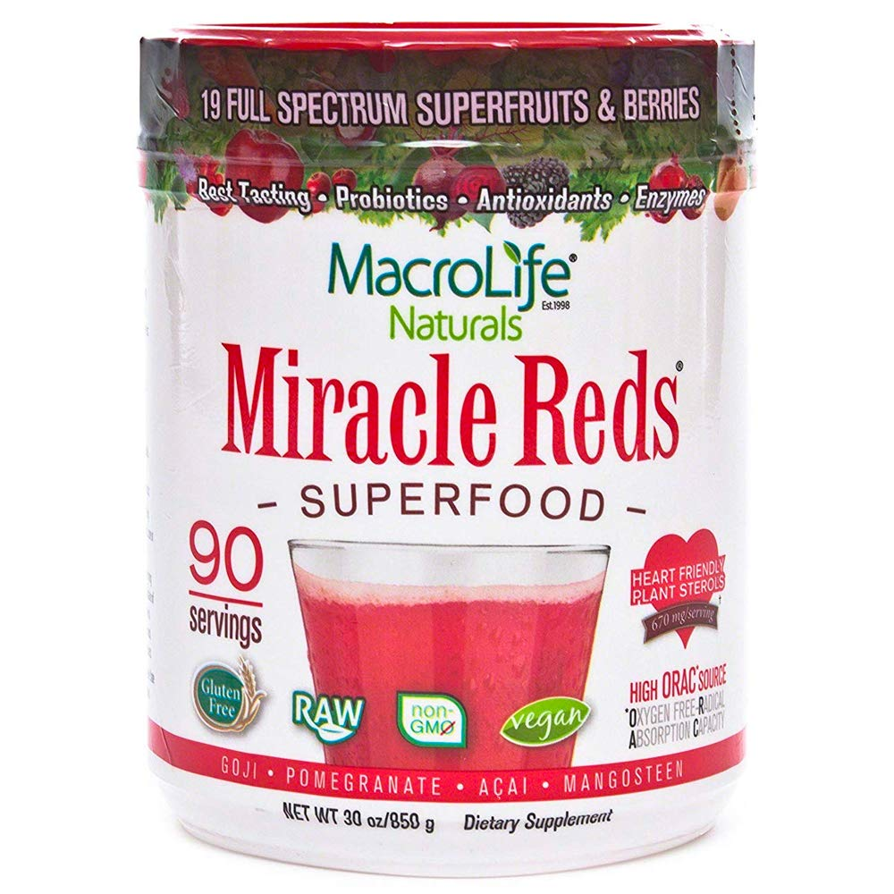 Miracle Reds Raw Organic Superfood| Powerful Gluten Free, Non GMO Fruit & Veggie Drink Powder| Contains List of Vital Reds including Digestive Enzymes, Tumeric, Probiotic, and Goji Berries, 30 oz