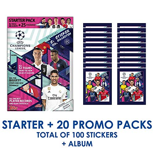 CHAMPIONS LEAGUE 2018-19 Topps Stickers - Starter Pack & 20 Promo Packs (Total of 100 Stickers & ()