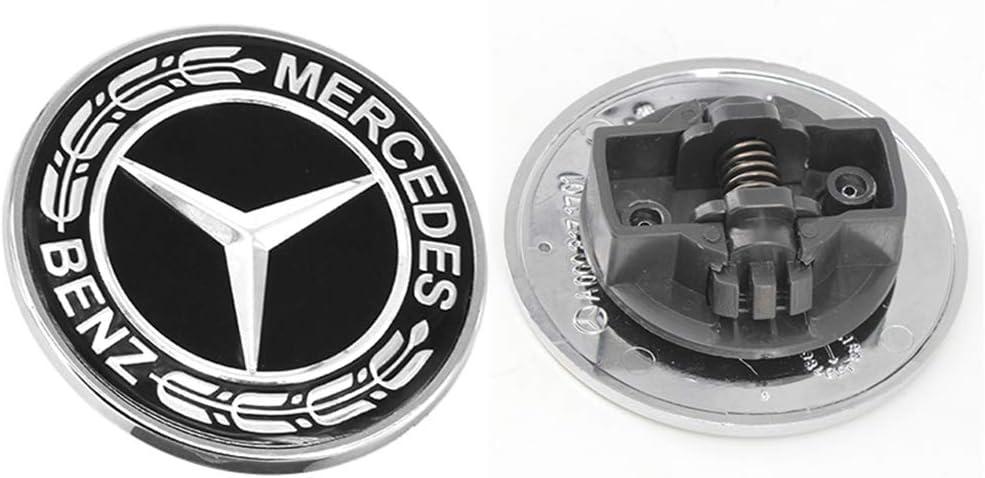 Black Cardiytools 57mm Flat Hood Star Emblem Badge for Mercedes Benz C E SL Class Ornament logo