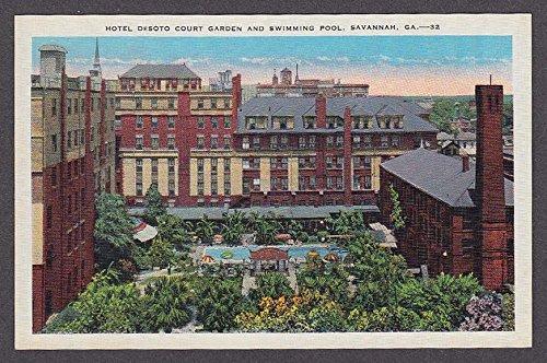 Hotel DeSoto Court Garden & Swimming Pool Savannah GA postcard 1930s