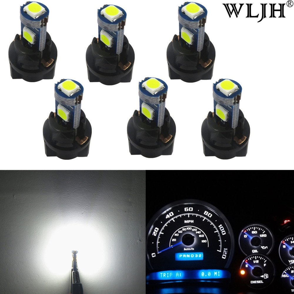 WLJH 6 Pack White PC74 Twist Locket Socket T5 LED Wedge Bulb 37 74 3030SMD Dashboard Instrument Cluster Light, Plug and Play