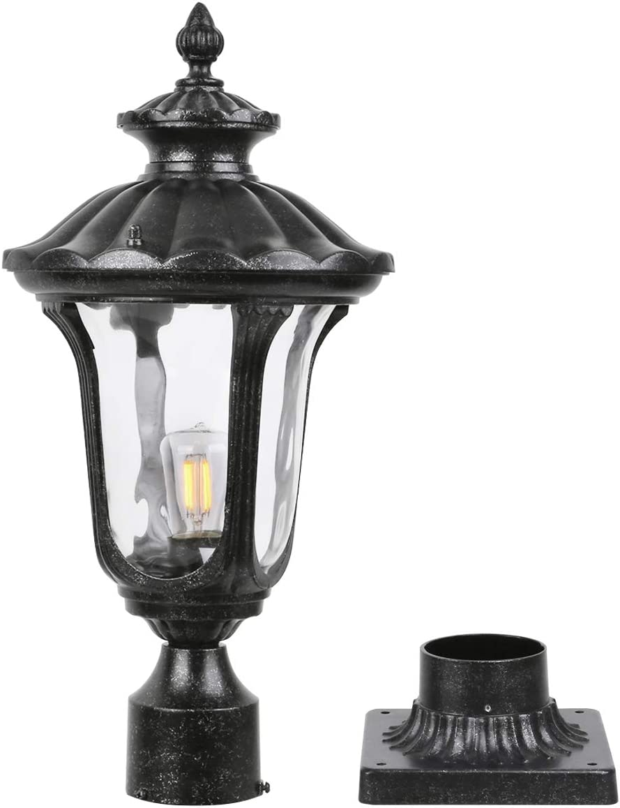 Goalplus Outdoor Post Light Fixture with Pier Mount Vintage Post Lamp for Yard 60W E26 Post Lantern in Dark Stone Finish with Clear Hammered Glass, 21 1 4 inch High, IP44 Waterproof, LMT2004-M