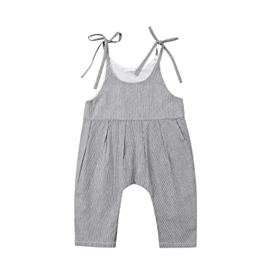 3efbc74e219 Amazon.com  Wiwiane Baby Girl Suspenders Romper Jumpsuit Overalls One-Piece  Casual Pants Outfit  Clothing