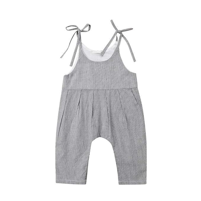 Amazon.com: wiwiane bebé niña suelto Jumpsuit overol de ...